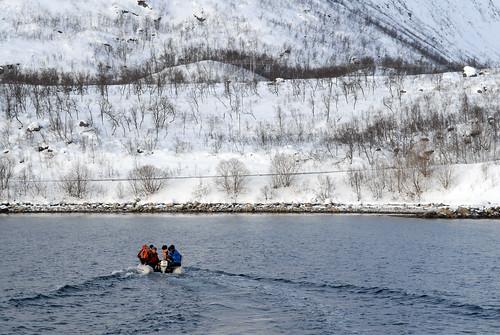 Rossneshamn débarquement pour l'asecension du Nordfjellet (1000m) - Tromso Norvège