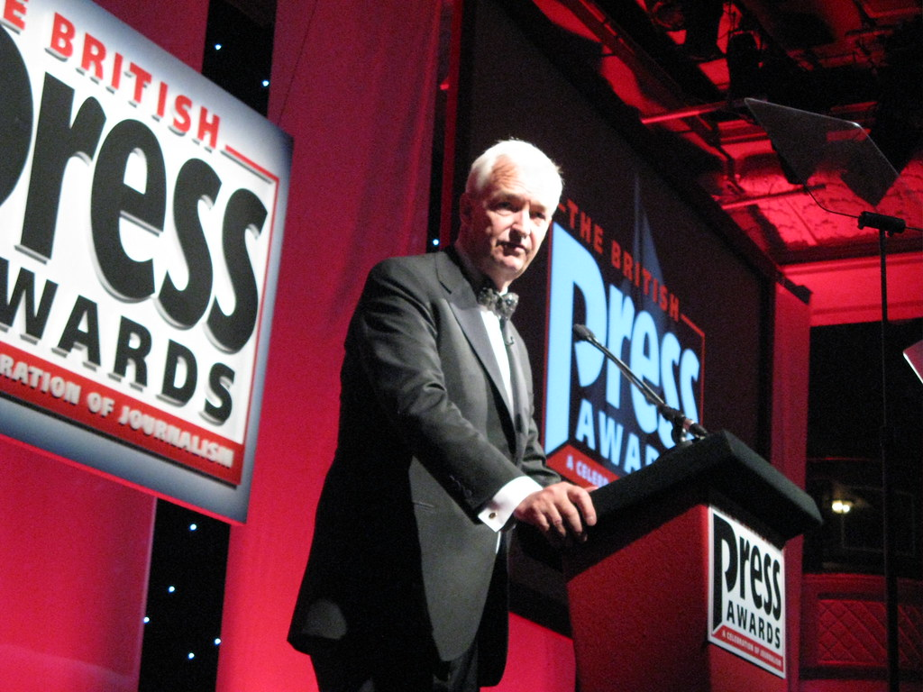 Jon Snow presenting the British Press Awards