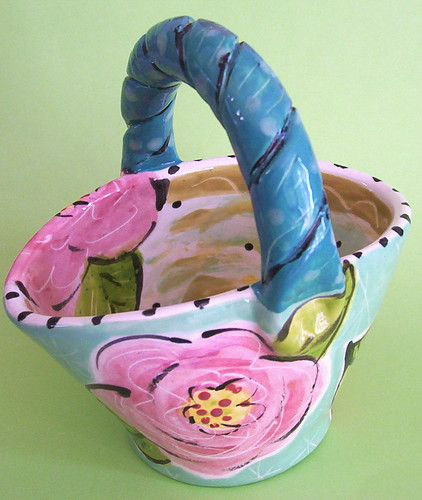 Funky Folk Art Pottery Basket