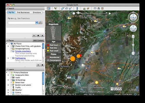 Earthquakes on Google Earth