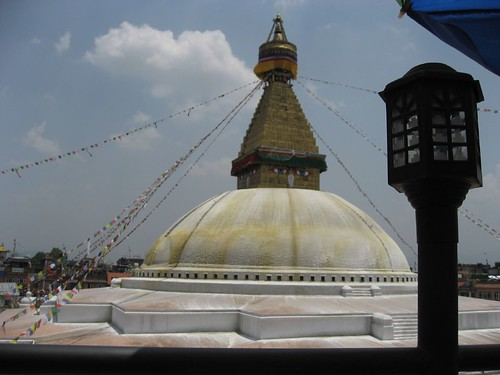 Boudhnath Stupa as seen from a restaurant rooftop