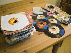 A whole stack of them. (QsySue) Tags: records mail vinyl 70s lovelovelove 45s package singles kindnessofstrangers vintl
