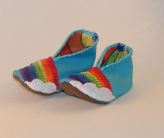 Rainbow Baby Bootie 2 (Crafty Intentions) Tags: baby rainbow embroidery sew felt booties babybootie satinribbon handstitch handsew microsuede machinestitch