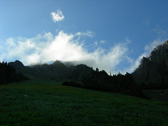 Clouds draping jagged peaks over the meadow.