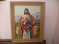 Vintage Paint by Number: Jesus and His Flock (Katorina) Tags: art by vintage paint craft number ugly tacky badart kitschyart doityourselfart katsdeelitecom paintbynumberjesus paintbynumberjesuswithsheep