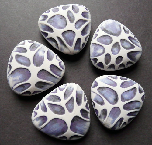 Porcelain Beads - Handbuilt, hand carved, hollow form
