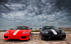 Twins  | EXPLORED | (Thomas van Rooij) Tags: charity red sky storm black cars beach netherlands dutch car weather clouds dark photography coast twins italian nikon thomas bad nederland 360 automotive zee run ferrari event exotic cs epic rare supercar challenge v8 stradale exotics supercars noordwijk combo kust evenement 2011 d90 rooij thom