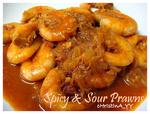 Spicy and sour prawns