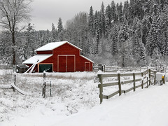 Idyllic (Haiku Heidi) Tags: winter red snow nature beautiful barn fun seasons frolic idaho firstsnow wonderland coeurdalene playinginthesnow sundaydrive haikuheidi notselectivecolor