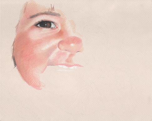 In progress colored pencil portrait.