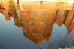 HARVINGTON HALL (chris .p) Tags: water reflections d50 hall nikon loveit worcestershire moat harvington