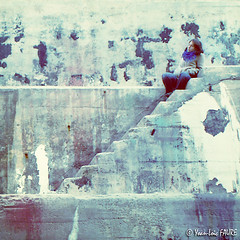 Thinking about my inspirations (ylfaure) Tags: old blue urban woman abstract france cold color 6x6 topf25 lines rock wall stairs port docks vintage square french puerto harbor photo marseille xpro crossprocessed mood quiet oldstyle foto jessica harbour squares dream jazz atmosphere 100v10f pop retro bleu cover squareformat crossprocessing thinking 70s medium shipyard tones deviantart drydock 2007 softlight bluehue carr yohan aesthetic  affinity 500x500 yohann  ylf puremorning views500 10faves views100 favorites10 favorites25 chantiernaval yoanloicfaure ylfaure peopleofmarseille heartawards yoanfaure lumirediffuse yoanloicfaure