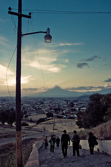 The End of a long Day (Luis Montemayor) Tags: road sunset sky clouds stairs mexico atardecer poste camino pole cielo nubes cholula puebla escaleras myfavs volcan