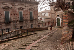 Ancient street (Giuseppe Andrea) Tags: street old italy woman dog mist detail canon ancient steps medieval penne abruzzo supershot golddragon 40d abigfave