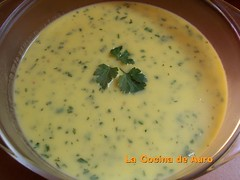 Crema de naranja y cilantro