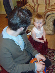 Daddy helping open Tigger present (superlori) Tags: birthday party fiona