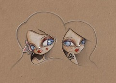 Two flirts (scarlettcat) Tags: scarlett art illustration pencil blog lowbrow 696