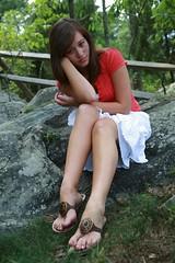 Leah H. (Walt Stoneburner) Tags: portrait nature girl grass rock asian outside rocks pretty legs modeling leah leg smooth shy skirt walt sandles wls stoneburner lh01 waltstoneburner