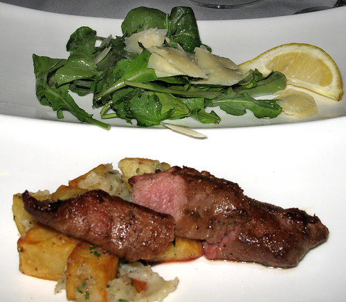 Chef Bob's Tasting  Menu, Course 5: Grilled Lamb Tenderloin with Rosemary Potato Hash, Arugula Salad with Mint, Olive Oil and Shaved Parmigiano-Reggiano