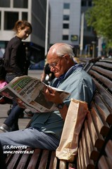 Old.. (sjoerd_reverda) Tags: old city summer sun man senior coffee bench reading newspaper rotterdam break citizen