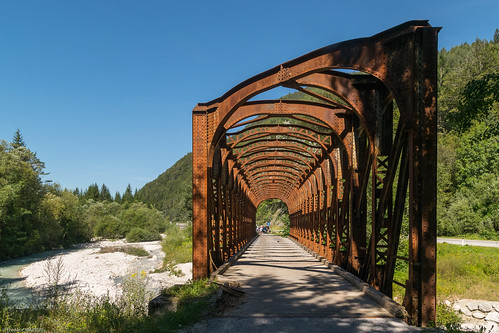 FORMER RAILWAY BRIDGE OVER THE SAVA RIVER. BELCA, SLOVENIA.
