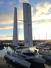 High tech sailboat, America's Cup Harbor, Point Loma, San Diego, California (Greying_Geezer) Tags: 2017 pointloma sandiego california usa boats sailboats