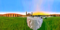 Bahria Town Community Mosque At Sunset In Lahore Pakistan - IMRAN™ (ImranAnwar) Tags: 360 architecture courtyard culture equirectangular fountain imran iphone iphone7 islam lahore mosque pakistan panorama spherical sunset travel travelogue winter