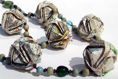 japanese brocade origami beads detail (Liz Hamman) Tags: wood glass paper japanese necklace beads origami handmade maps craft jewelry jewellery brocade