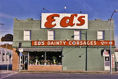 Ed's Dainty Corsages (FotoEdge) Tags: flowers windows green classic reflections neon memories kansascity explore eds 1986 31st dainty corsages 31ststreet gillham fotoedge