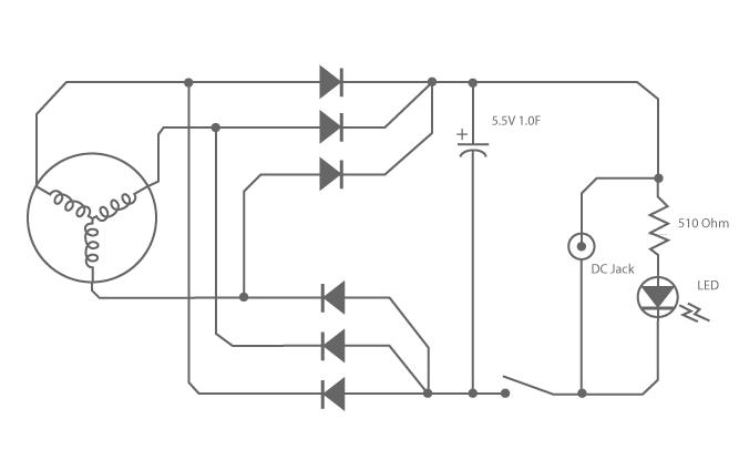Schematic of Crank Flashlight