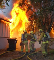 LAFD Crews Battle Swift Moving North Hollywood House Fire. © Photo by Mike Meadows. Click to view more...
