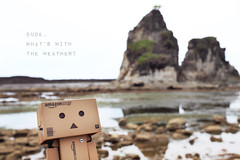 photobomb (M3R) Tags: two reflection beach water rock indonesia toy cloudy expression shore westjava facial canonef1740mmf4lusm badweather confuse cardbox danbo sawarna photobomb