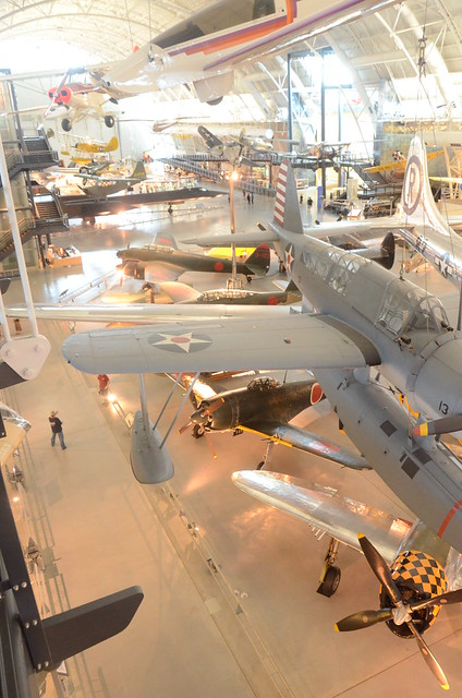 Steven F. Udvar-Hazy Center: South hangar panorama, including Vought OS2U-3 Kingfisher seaplane, B-29 Enola Gay, among others