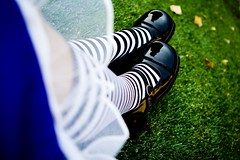 Stripes & Crinoline FUTAB (martianmermaid) Tags: fall grass leaves socks underground stripes maryjanes patentleather aliceinwonderland shoegazing kneehighsocks crinoline futab justbeachy2 aliceinflickrland