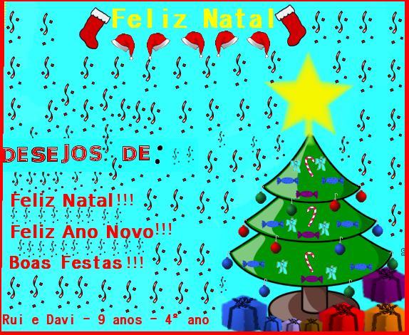postal de Natal Rui e Davi