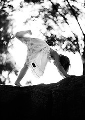 Still dancing ({amanda}) Tags: light sunset girl beautiful rock child dancing mykid 85mm dancer bnw sunflare fiveyears 5years amandakeeysphotography matildajaneclothing
