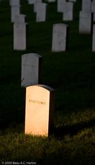 Unknown gravestone at Arlington National Cemetery (BACHarbin) Tags: usa cemetery graveyard arlington sunrise sadness virginia alone headstones photoblog va unknown arlingtonnationalcemetery markers gravestones submittedtophotoshelter
