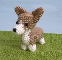 crocheted corgi