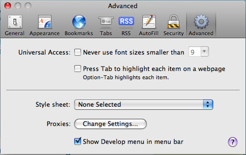 Safari 3.1 - Activate Develop Menu