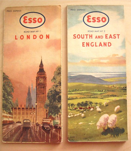 Esso Maps for London and South East England with 1960s style illustrations