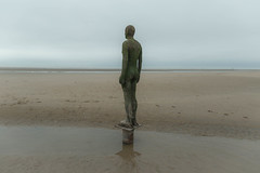 At One (cathbooton) Tags: wideangle canoneos canon6d canonusers statue beach crosby antonygormley castiron lifesize sand sea weathered anotherplace uk reflection water modern sculpture artist selfimage