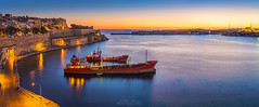 The Grand Harbor before sunrise - Valletta, Malta (Zoltan Gabor) Tags: valletta malta sunrise dawn sea ship city seascape landscape panoramic skyline