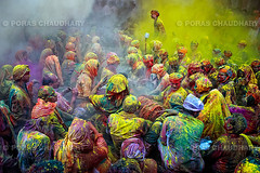 Last Man Standing II ( Poras Chaudhary) Tags: people india man colors yellow festival colorful crowd celebration gathering holi