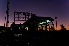 Darling Harbour Monorail Station at Dusk (Craig Jewell Photography) Tags: pink sunset orange silhouette sign night twilight purple harbour dusk au sydney australia darlingharbour monorail crai