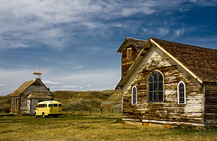 Two churches and a bus (JoLoLog) Tags: canada bus abandoned church dorothy oldbuildings alberta ghosttown badlands abandonedbuildings lorien abandonedchurch mywinners omot albertabadlands platinumphoto canonxsi absolutelystunningscapes artofimages bestcapturesaoi dorothyghosttown