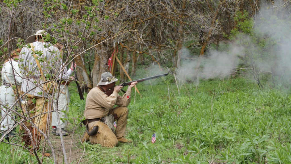 Mountain man shoots a muzzle loader