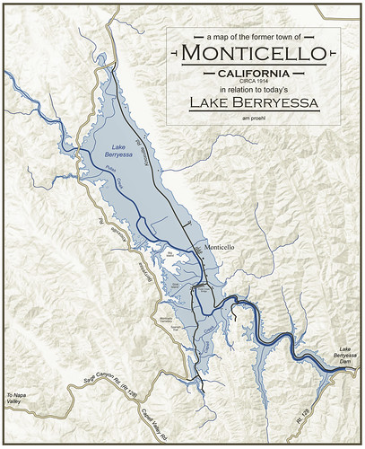 A Map of the Former Town of Monticello, CA in Relation to Today's Lake Berryessa by amproehl