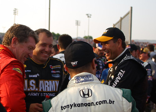 Tony jokes with fellow drivers