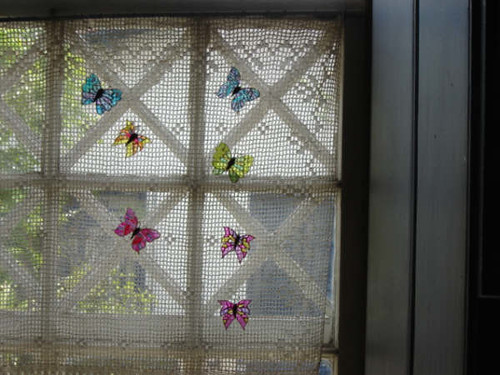 Pet şişeden yapılmış kelebekler kelebekler perde buzdolabı ve