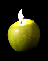Fire (JRyle79) Tags: county light green apple wet water fruit fire drops juicy image 1st lexington kentucky ky first drop flame wicked co 2008 dripping fayette of